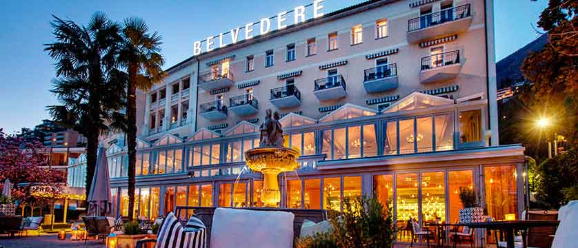 Hotel Belvedere, Locarno, Ticino, Switzerland - exterior at night.jpg